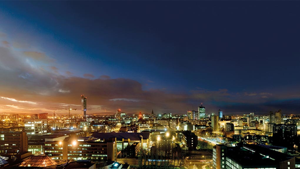 Manchester nighttime skyline